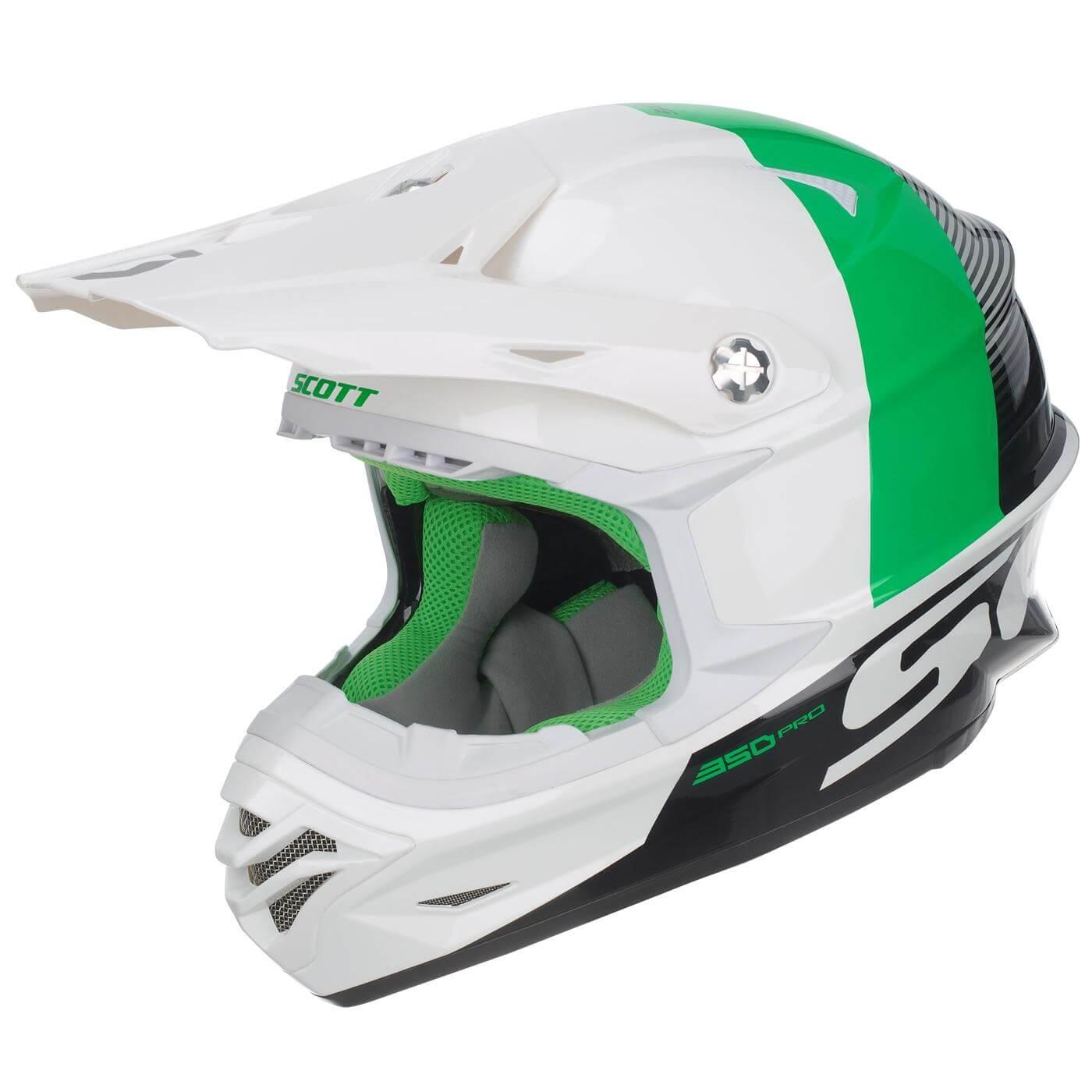 Scott 350 Pro Hjelm Track - Hvit/Grønn - XS