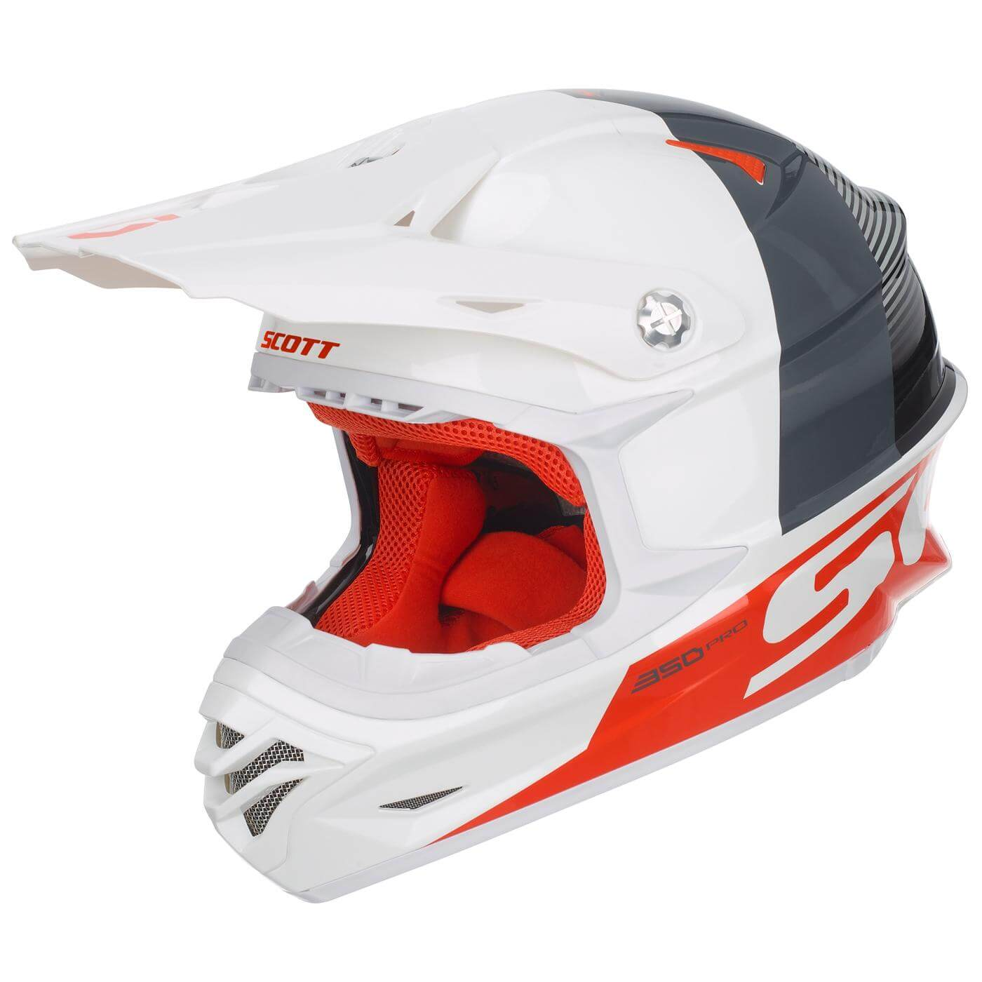 Scott 350 Pro Hjelm Track - Hvit/Orange - S