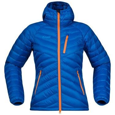 Bergans Slingsbytind Down Lady jacket w/Hood - AthensBlue/Pumpkin/Lt WinterSky - S