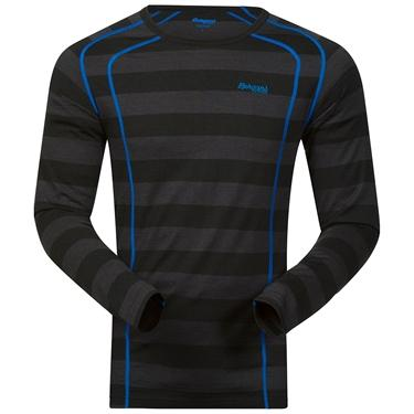 Bergans Fjellrapp Shirt - Black Striped/AthensBlue - XXL