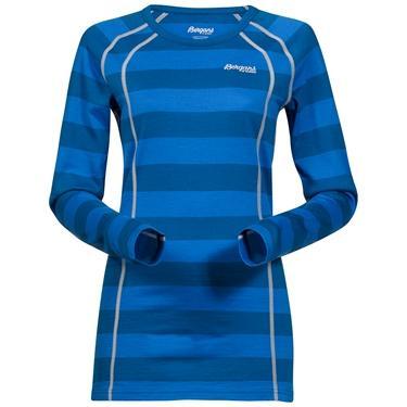 Bergans Fjellrapp Lady Shirt - Ocean Striped/Alu - M